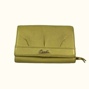 Coach Lime Green Leather BiFold Accordian Wallet